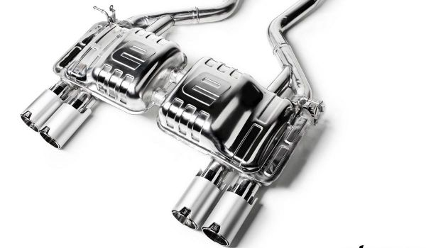 Eisenmann rear muffler stainless steel tip with slant cut downwards, with outer cover, color chrom/aluminium black anodised Duplex (left + right) BMW F80 M3 Limousine/sedan / F82'/F83 M4 Coupe und Cabrio/compartment and convertible
