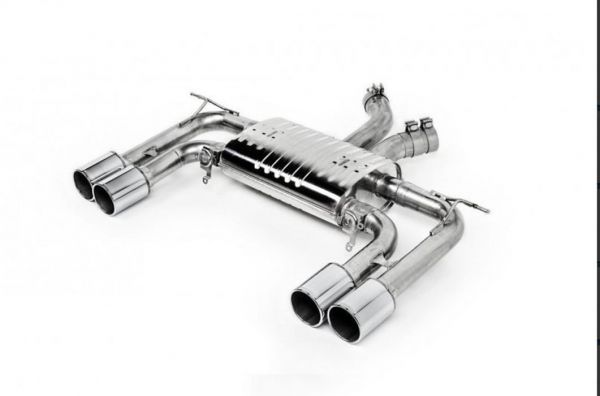 Eisenmann rear muffler stainless steel Duplex (left + right),stainless steel tip with outer cover color chrom/aluminium brushed X6M